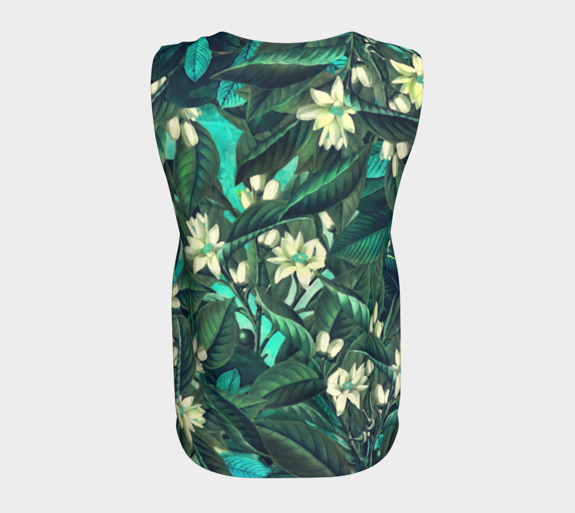 flowers  green white loose tank top preview #6