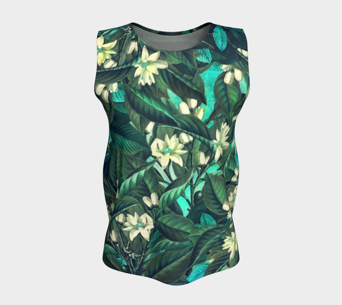 flowers  green white loose tank top preview #5