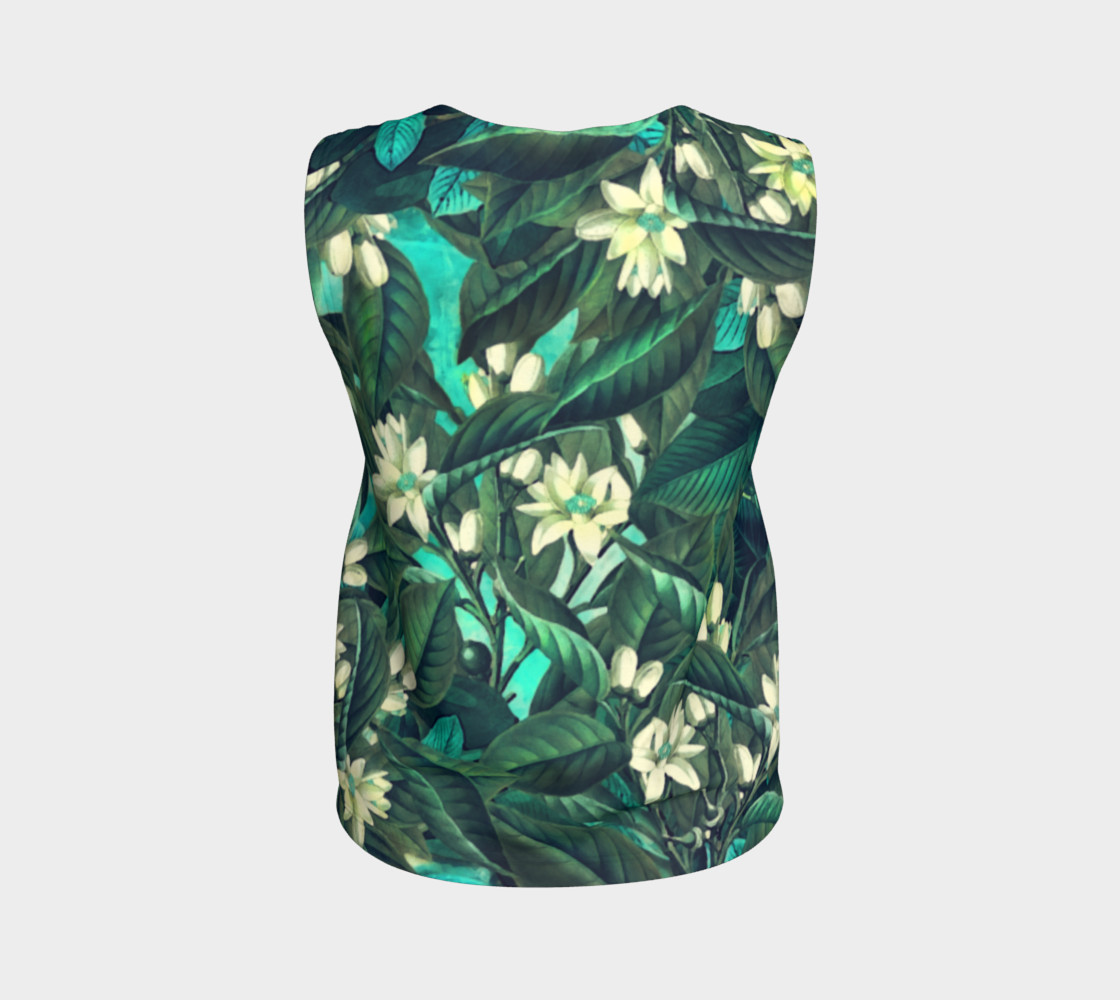 flowers  green white loose tank top preview #2