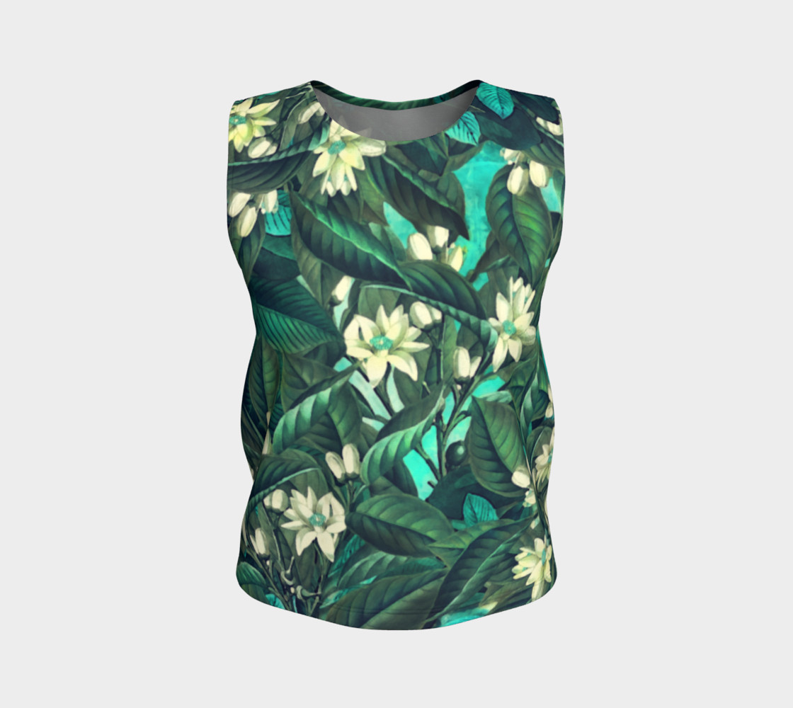 flowers  green white loose tank top preview #1