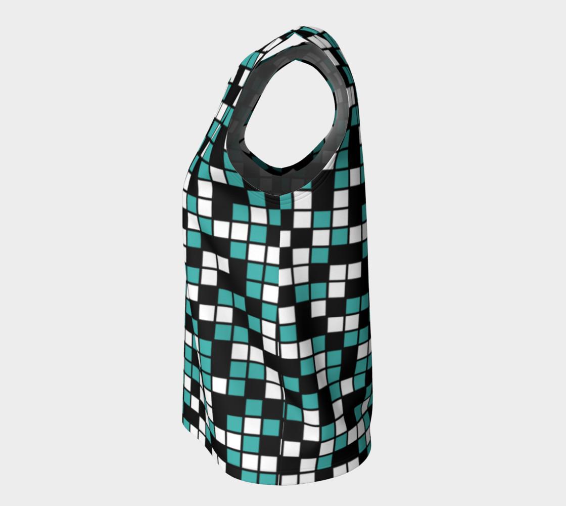 Aperçu de Verdigris, Black, and White Random Mosaic Squares #7