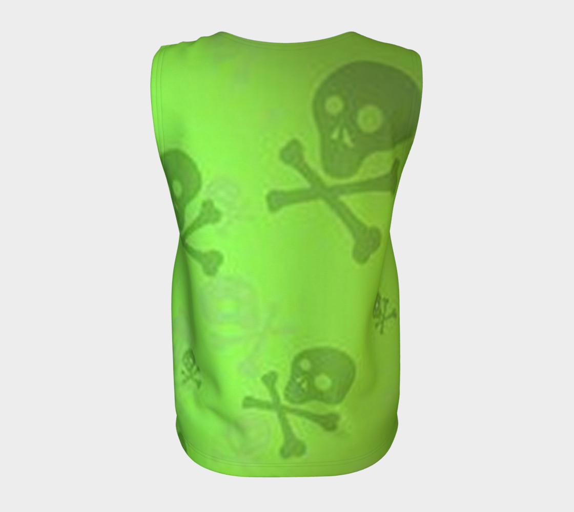 Cartoon Skull On Green Loose Tank Top preview #6