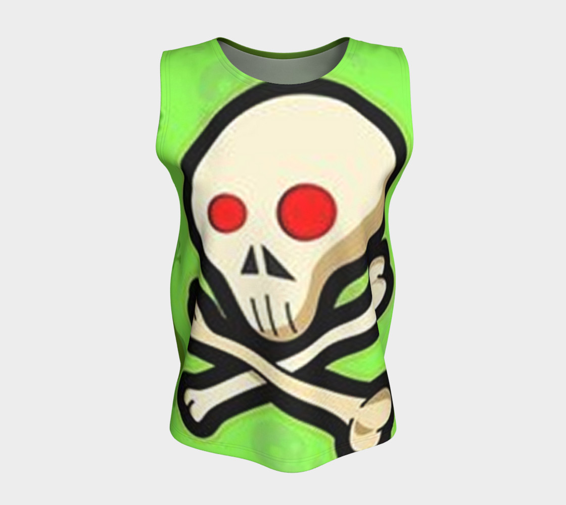 Cartoon Skull On Green Loose Tank Top preview #5