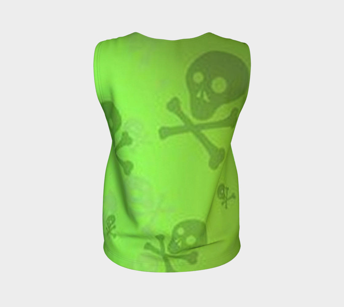 Cartoon Skull On Green Loose Tank Top preview #2