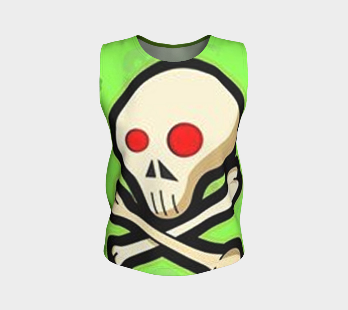 Cartoon Skull On Green Loose Tank Top preview #1