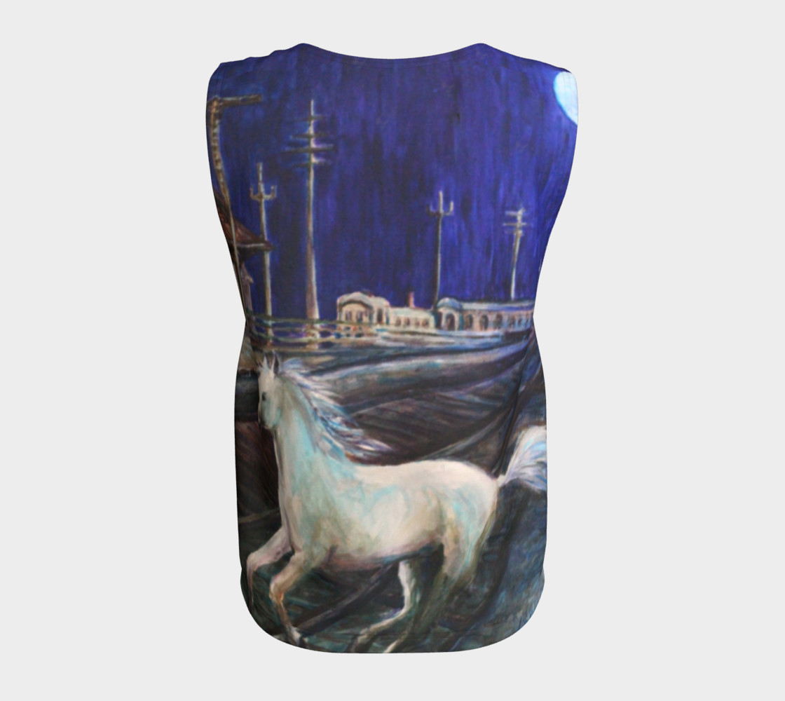 Horse in the Moonlight Loose Tank Top preview #6
