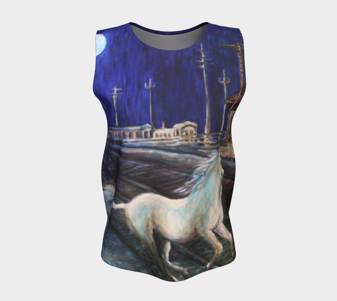 Horse in the Moonlight Loose Tank Top preview #5