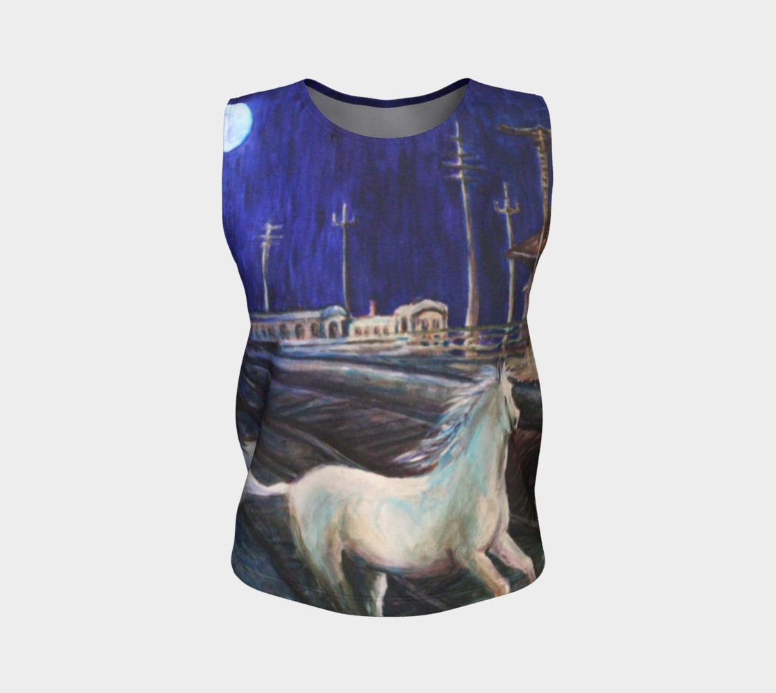 Horse in the Moonlight Loose Tank Top preview #1