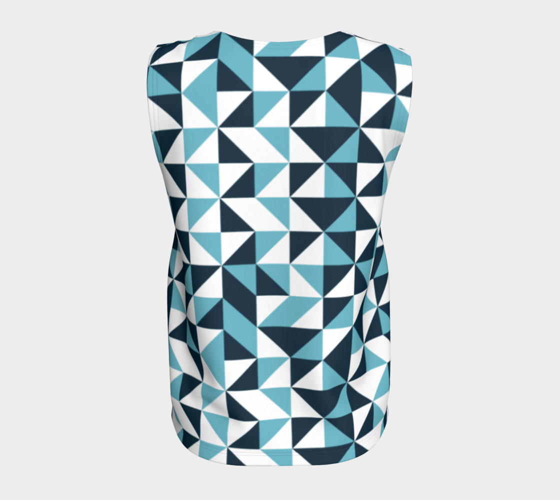 Blue Triangles Loose Tank Top preview #6