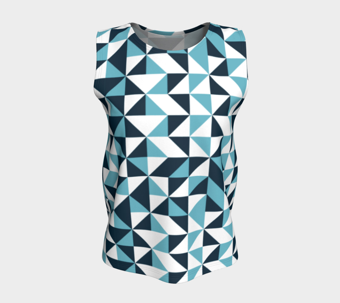 Blue Triangles Loose Tank Top preview #5