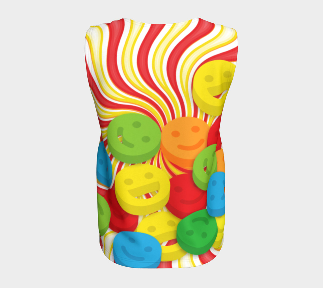 Aperçu de Rainbow Candy Swirls and Smiley Face Emojis Loose Tank Top #6