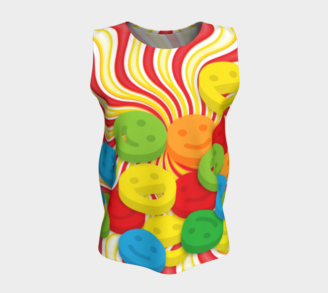 Aperçu de Rainbow Candy Swirls and Smiley Face Emojis Loose Tank Top #5
