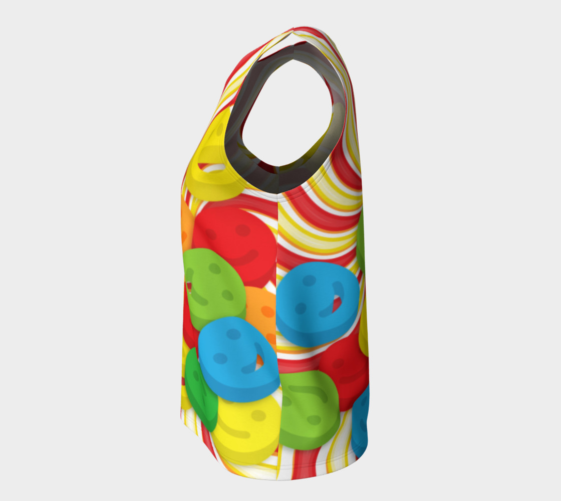 Aperçu de Rainbow Candy Swirls and Smiley Face Emojis Loose Tank Top #7