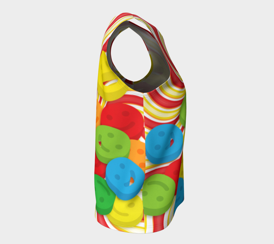 Aperçu de Rainbow Candy Swirls and Smiley Face Emojis Loose Tank Top #8
