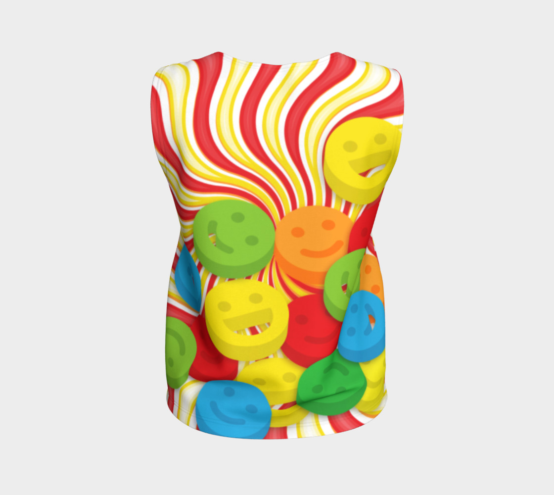 Aperçu de Rainbow Candy Swirls and Smiley Face Emojis Loose Tank Top #2