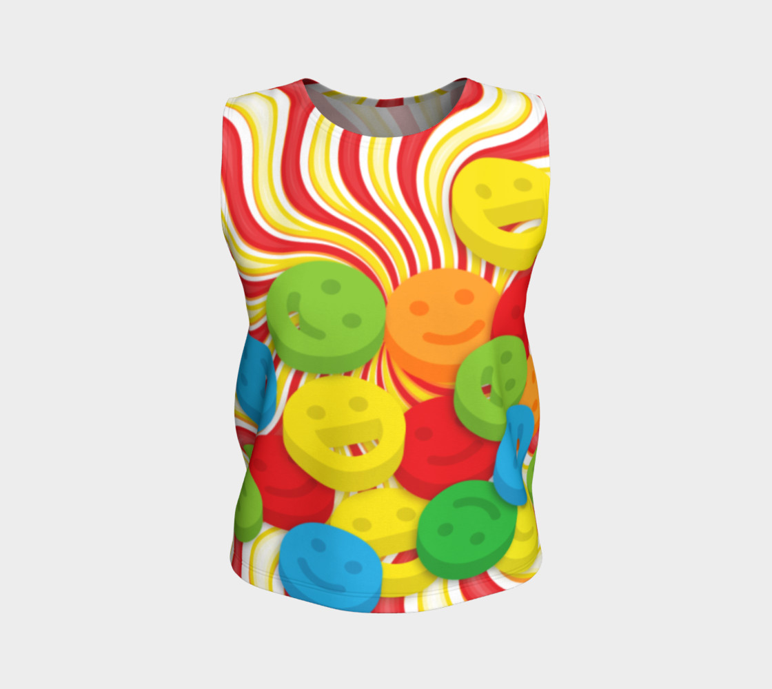 Aperçu de Rainbow Candy Swirls and Smiley Face Emojis Loose Tank Top #1