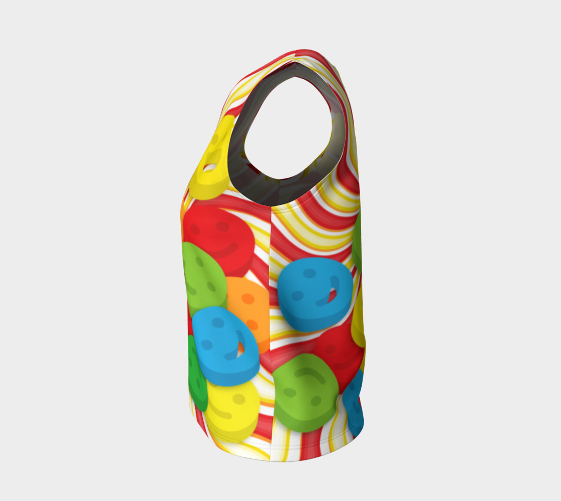 Aperçu de Rainbow Candy Swirls and Smiley Face Emojis Loose Tank Top #3