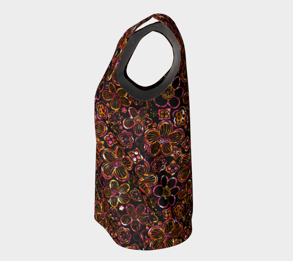 Aperçu de Colorful Stained Glass Look Whimsical Floral Loose Tank Top #7