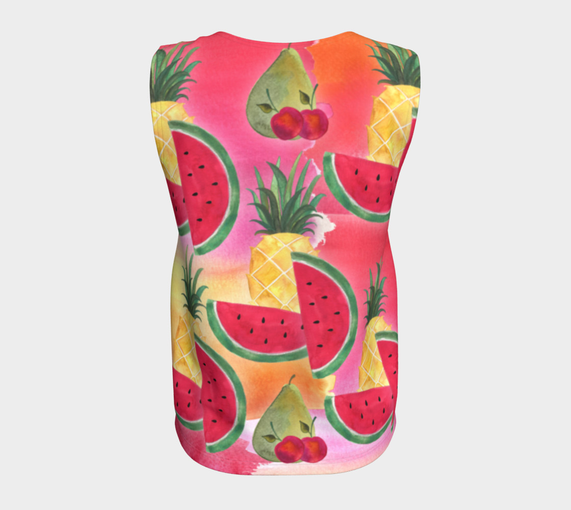 Watercolor Fruit Watermelon Pineapple Pear Cherry Loose Tank Top Miniature #7