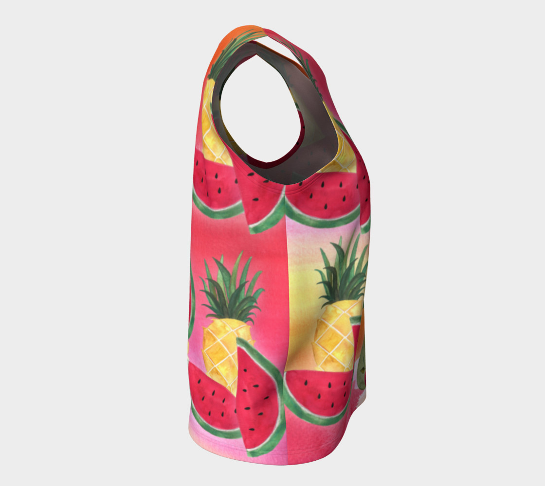 Watercolor Fruit Watermelon Pineapple Pear Cherry Loose Tank Top Miniature #9
