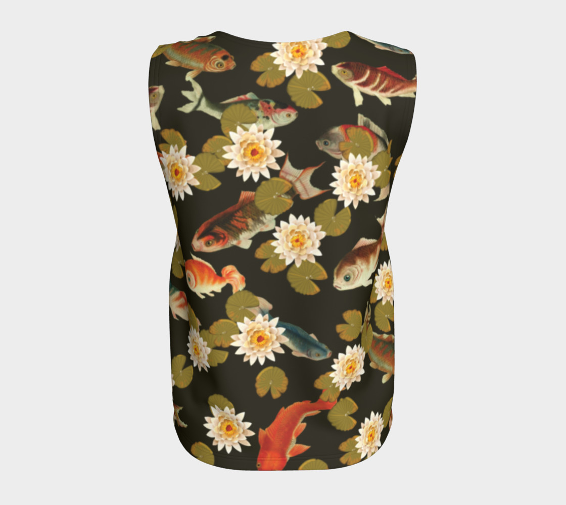 Aperçu de Koi & Lily Pads in Dark Water - Loose Tank Top #6