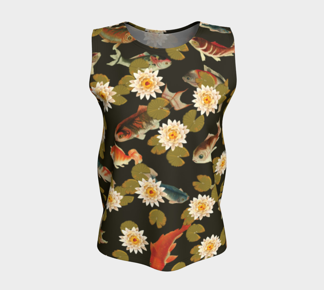 Aperçu de Koi & Lily Pads in Dark Water - Loose Tank Top #5