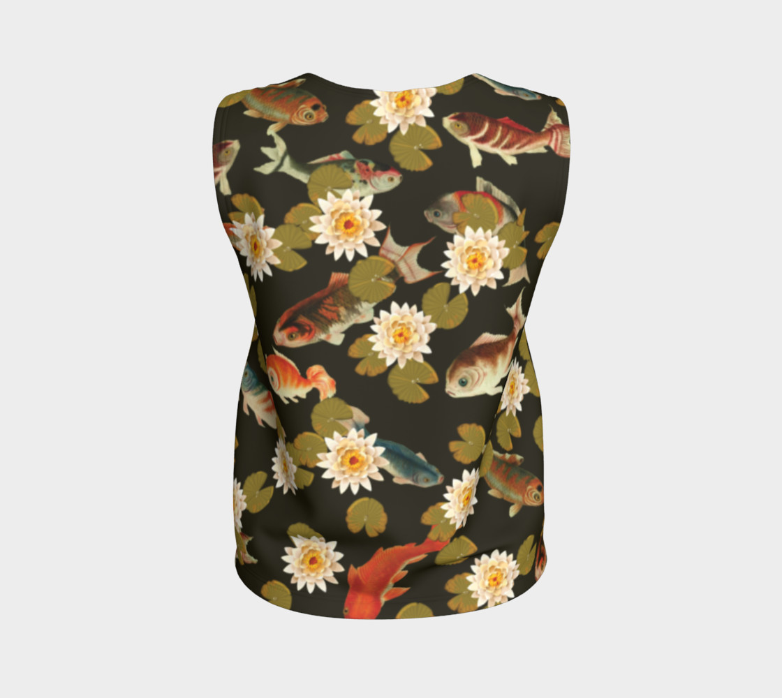 Koi & Lily Pads in Dark Water - Loose Tank Top thumbnail #3
