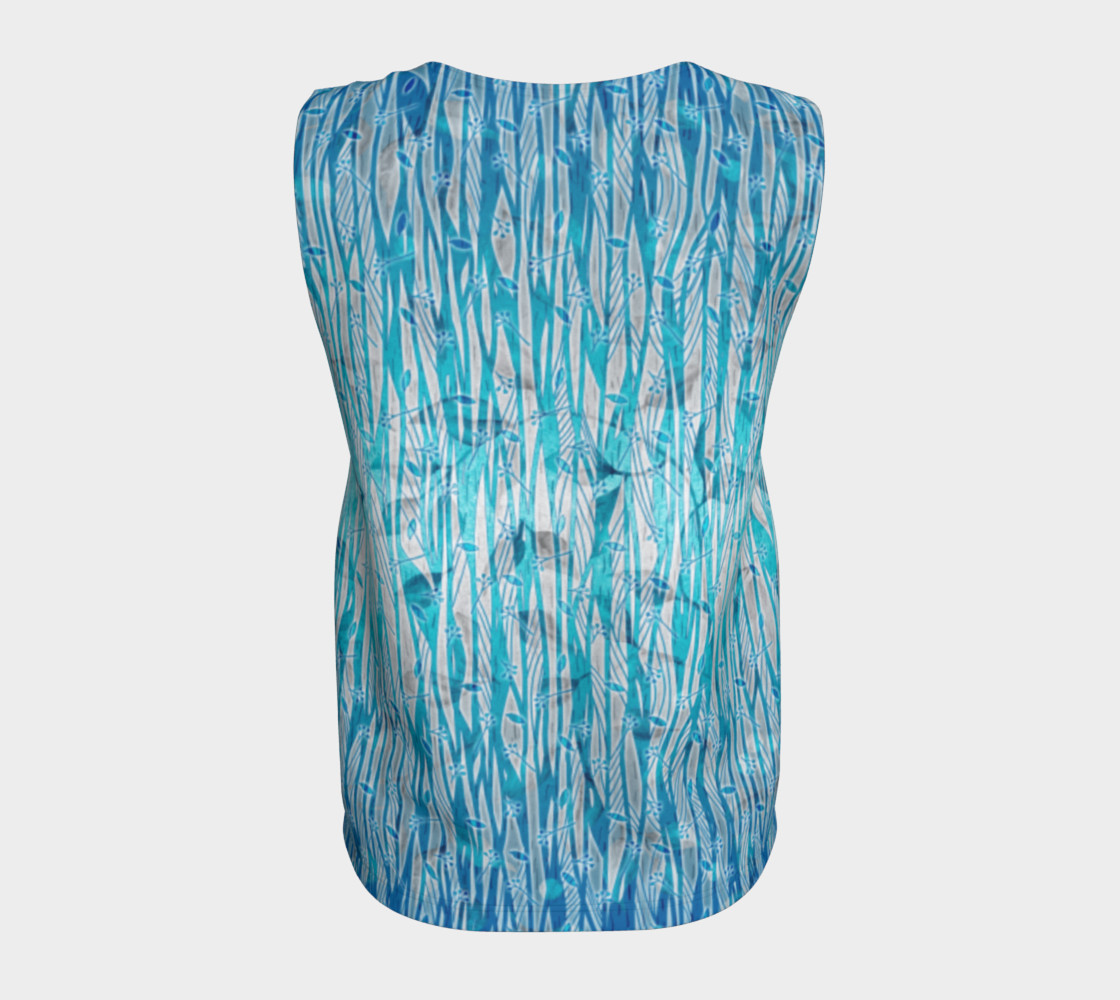 Blue Turquoise Silver Leafy Floral Loose Tank Top preview #6