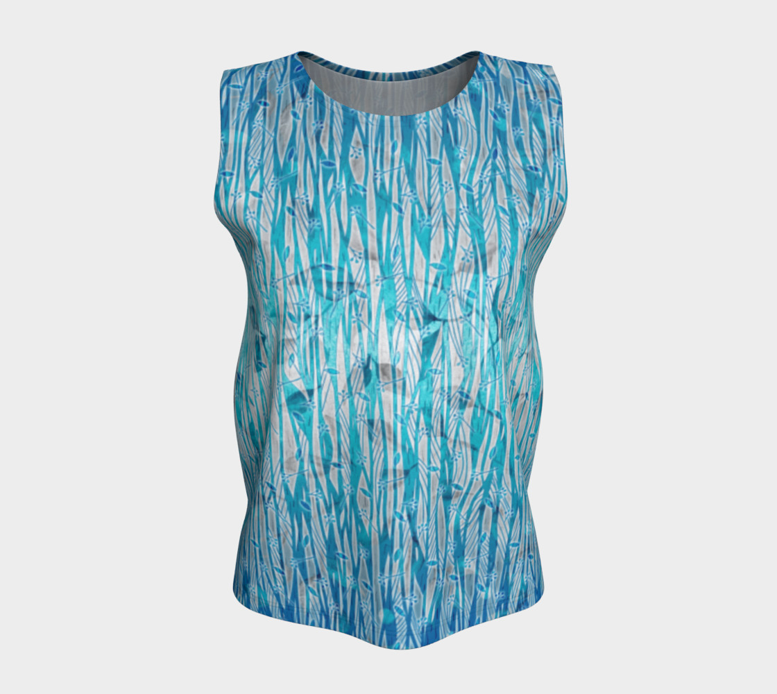 Blue Turquoise Silver Leafy Floral Loose Tank Top preview #5