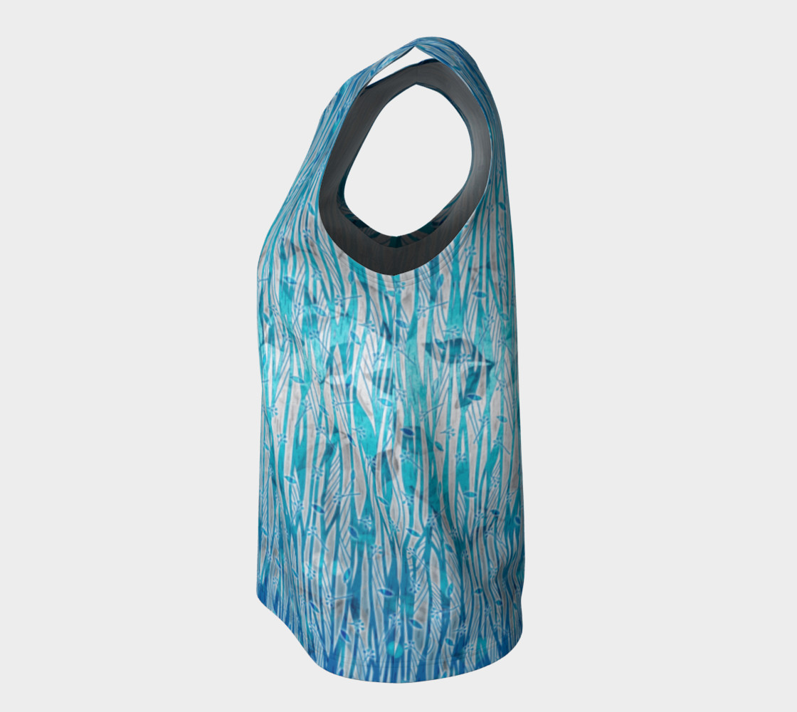 Blue Turquoise Silver Leafy Floral Loose Tank Top preview #7