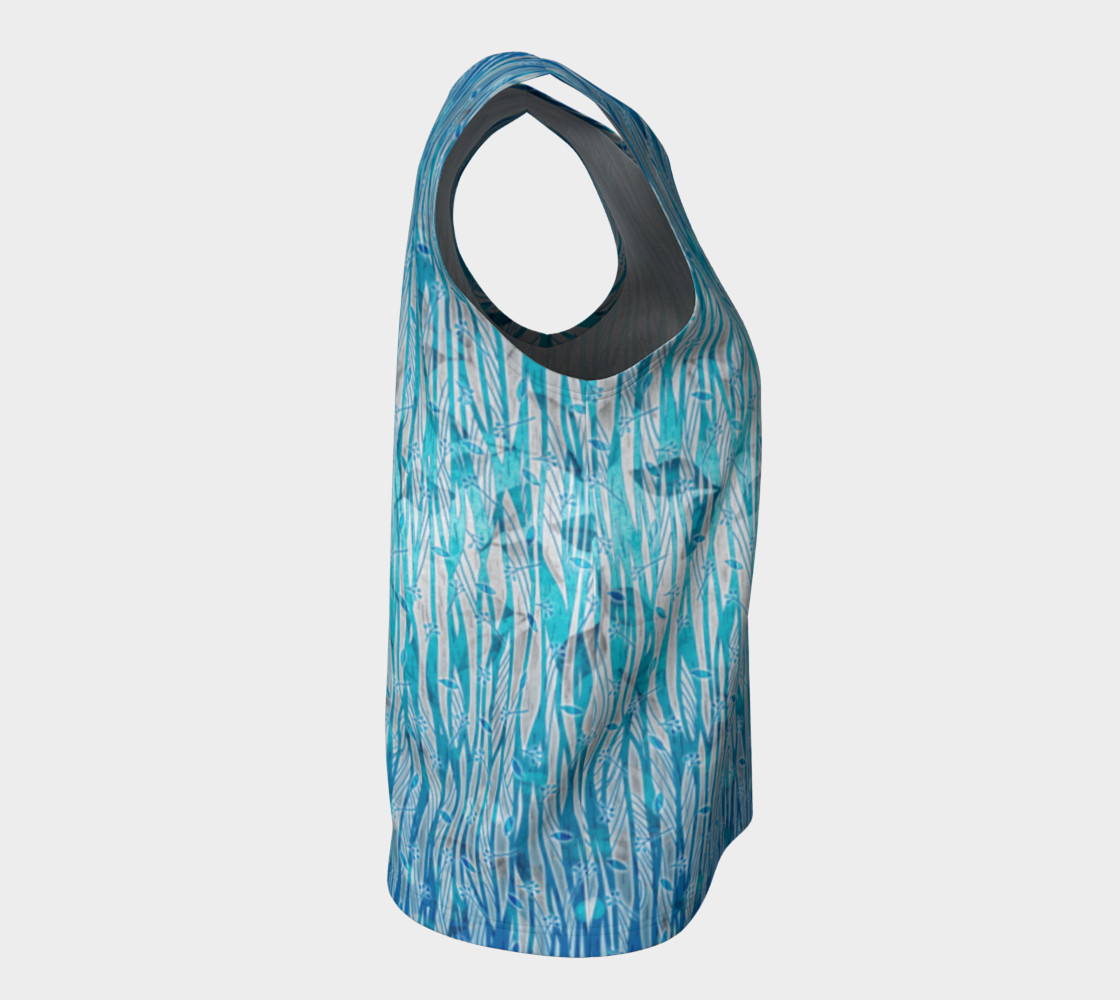 Blue Turquoise Silver Leafy Floral Loose Tank Top preview #8