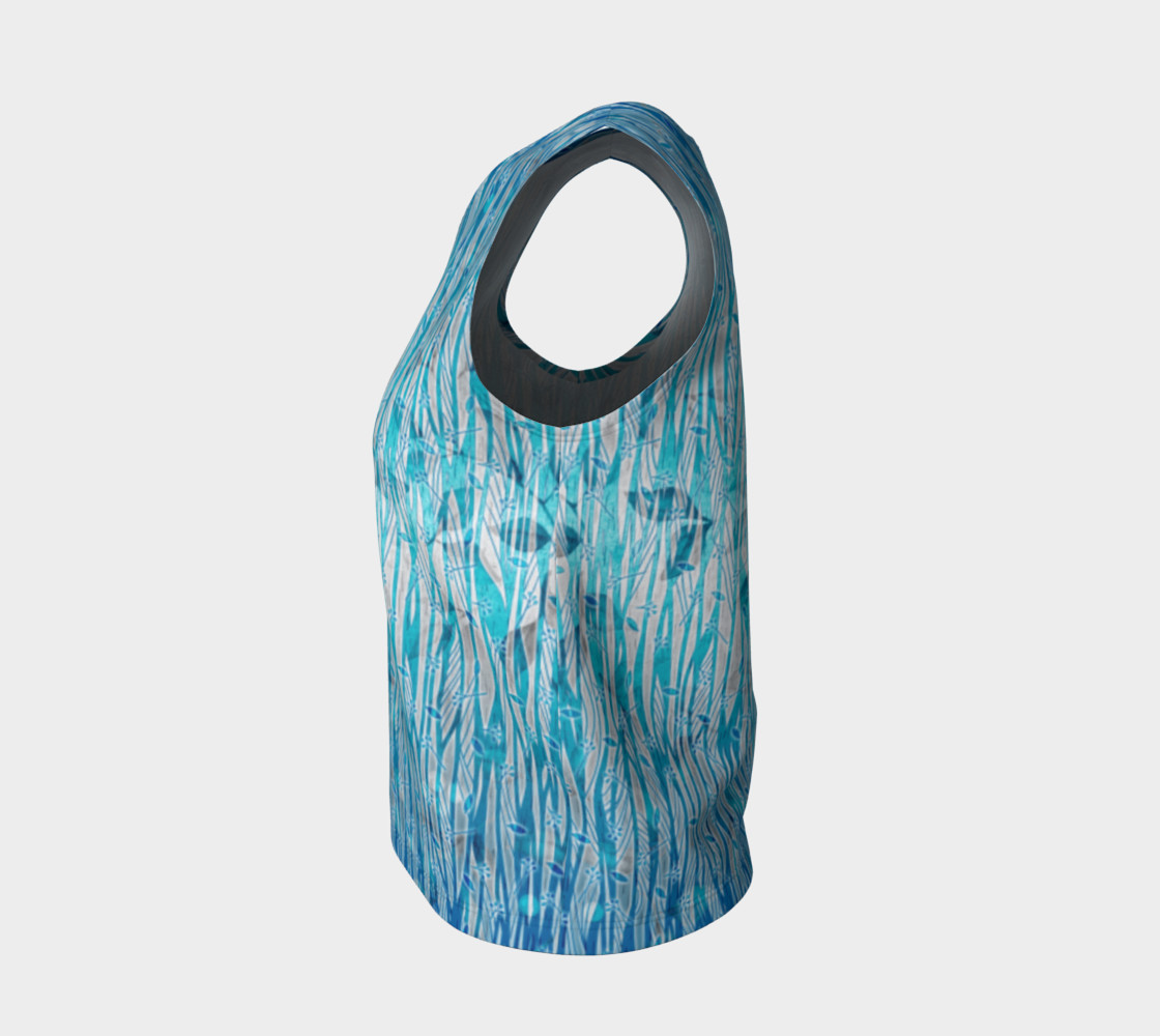 Blue Turquoise Silver Leafy Floral Loose Tank Top preview #3