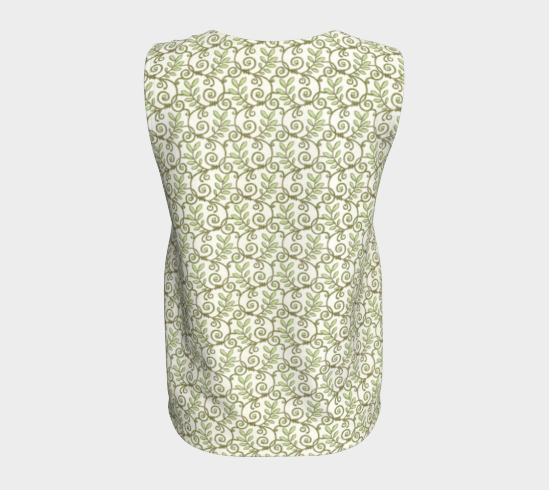 Green Cream Leafy Lace Floral Loose Tank Top preview #6