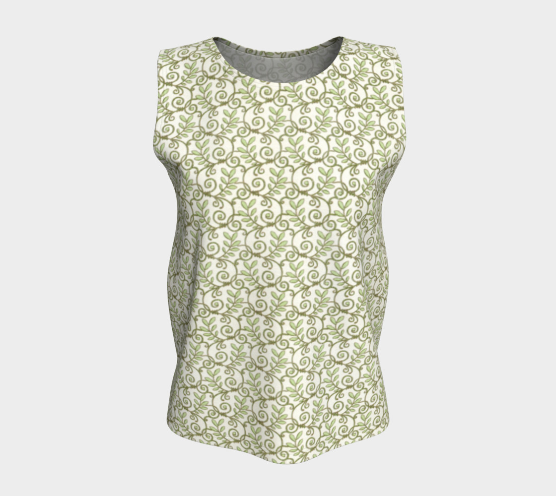 Green Cream Leafy Lace Floral Loose Tank Top preview #5