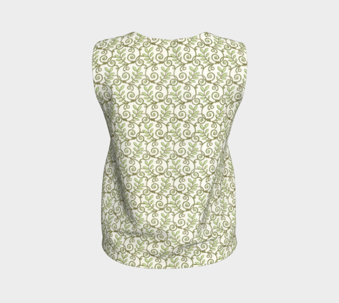 Green Cream Leafy Lace Floral Loose Tank Top preview #2