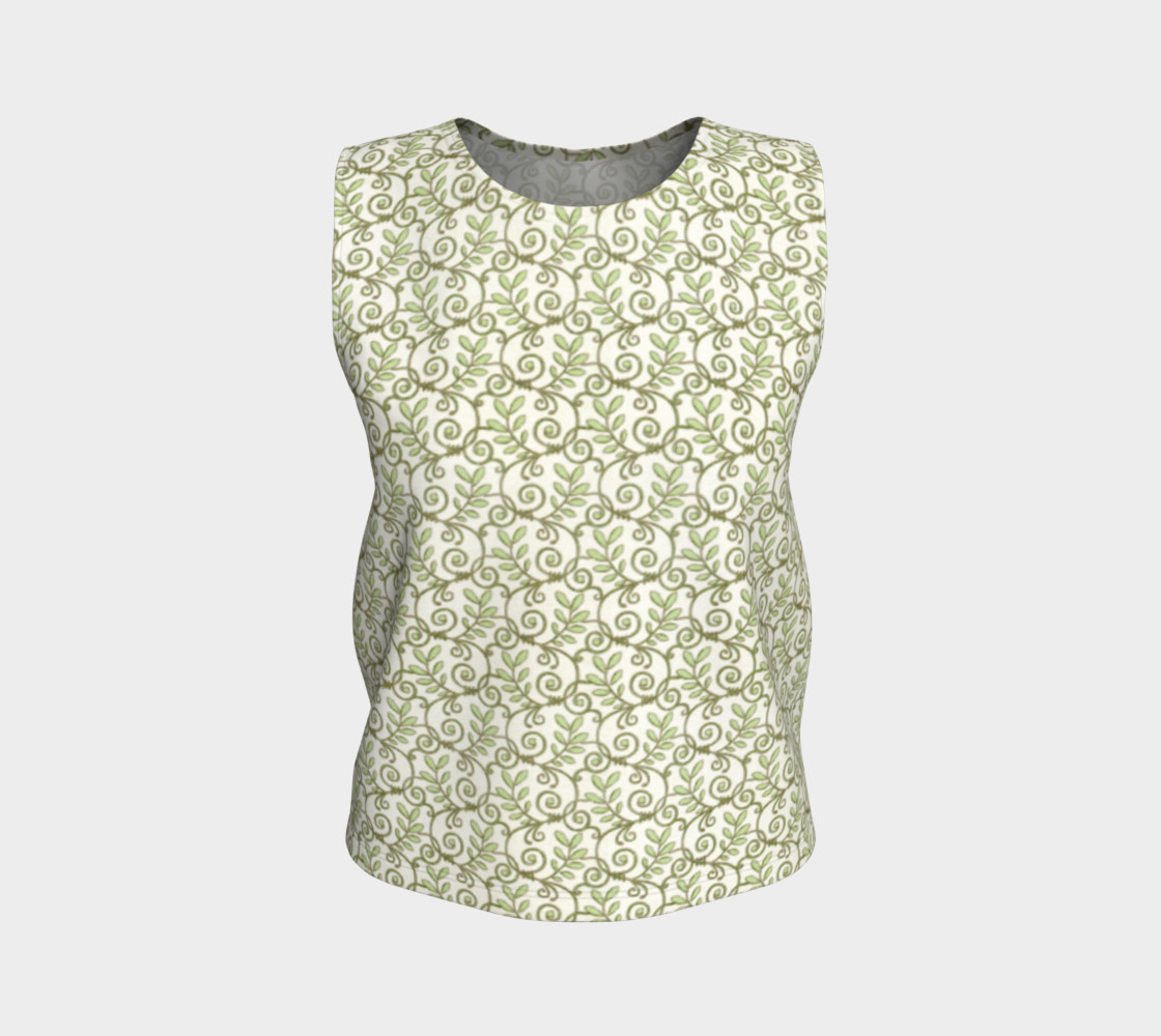 Green Cream Leafy Lace Floral Loose Tank Top preview #1