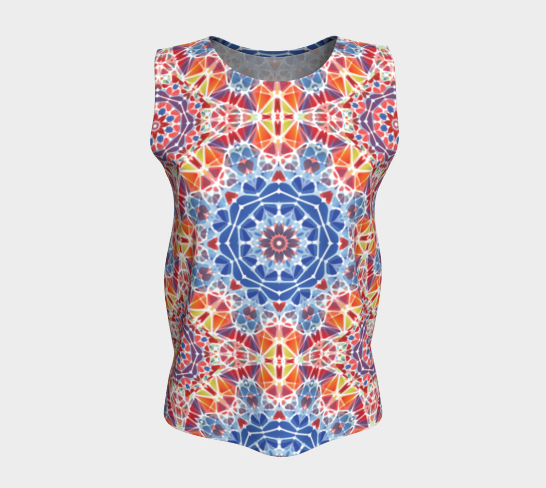 Blue and Orange Kaleidoscope Loose Tank Top preview #5