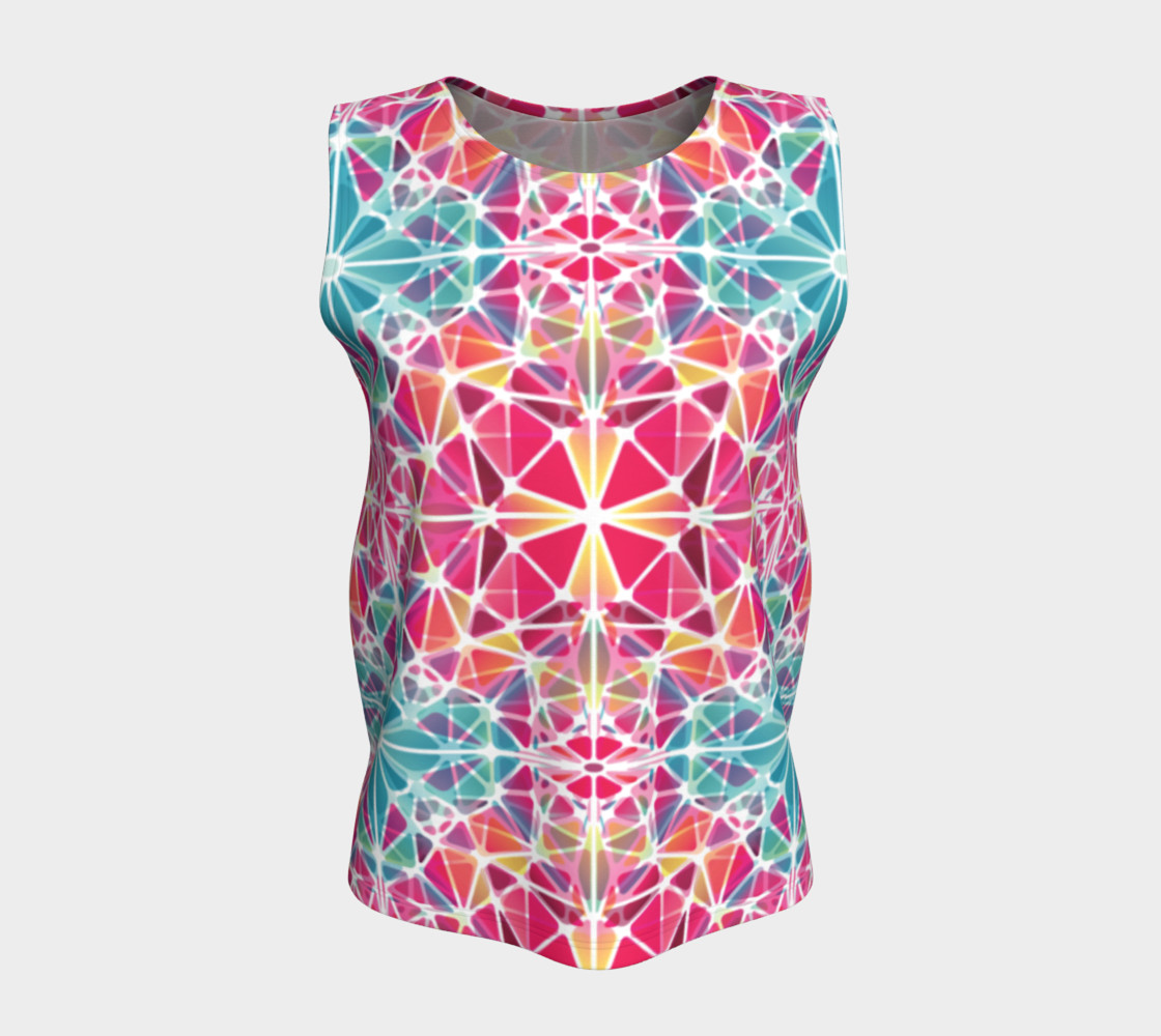 Pink and Blue Kaleidoscope Loose Tank Top preview #5
