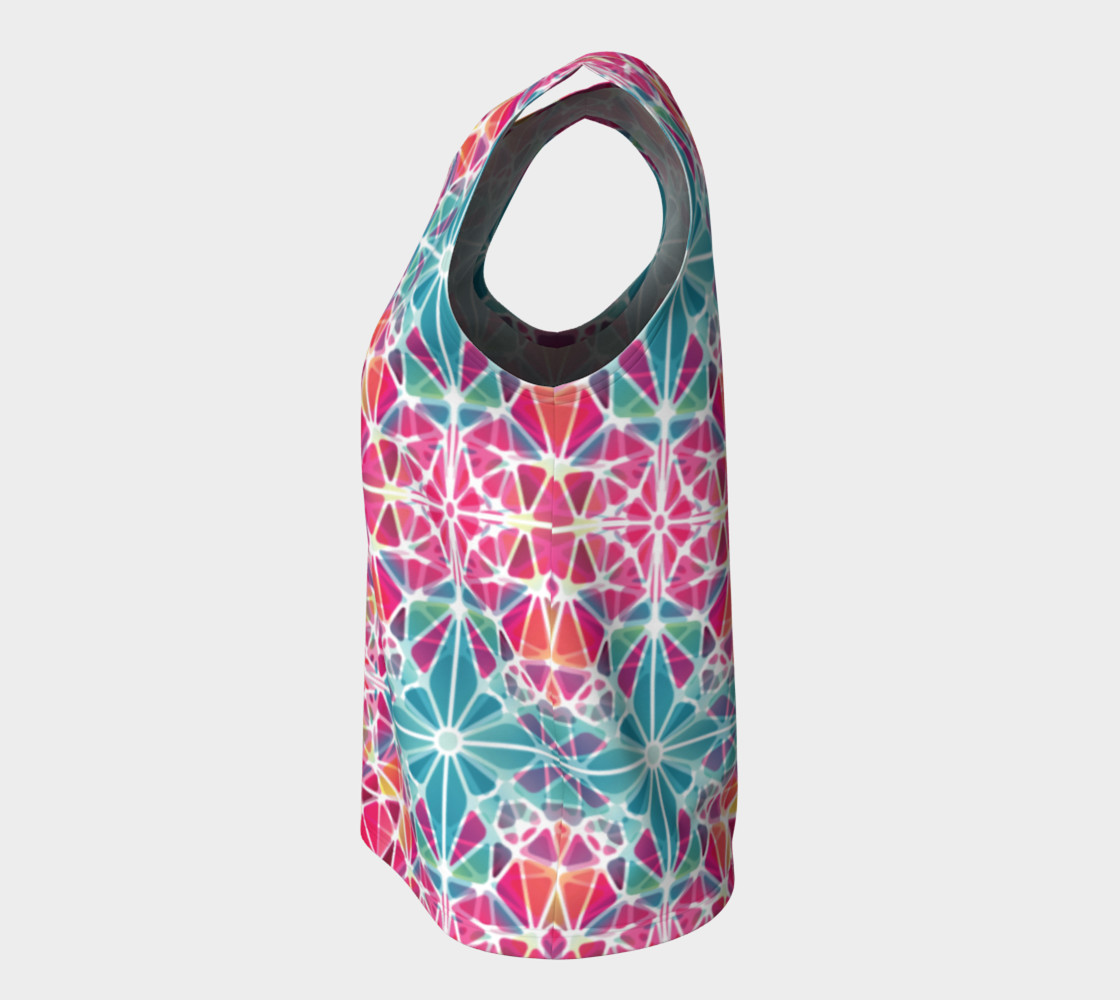 Pink and Blue Kaleidoscope Loose Tank Top preview #7