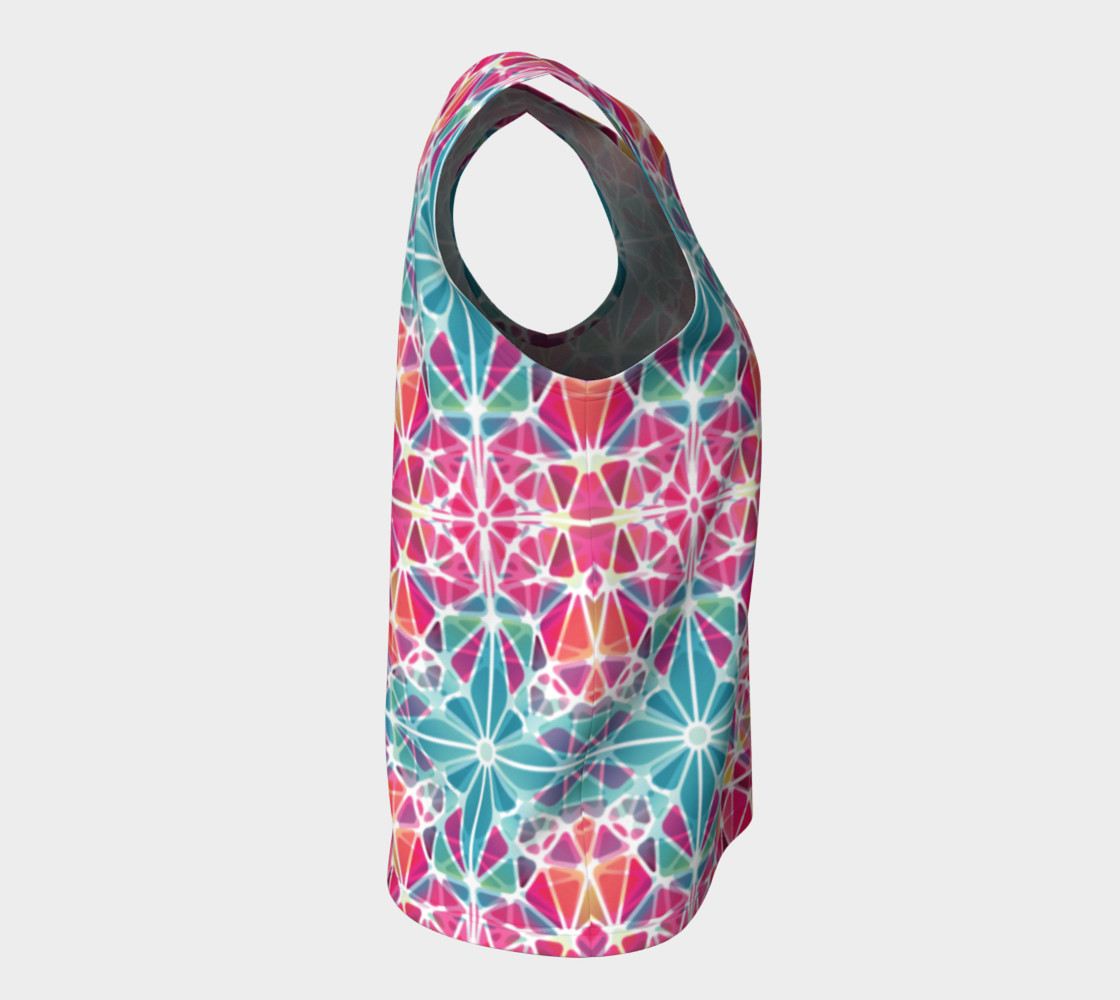 Pink and Blue Kaleidoscope Loose Tank Top preview #8