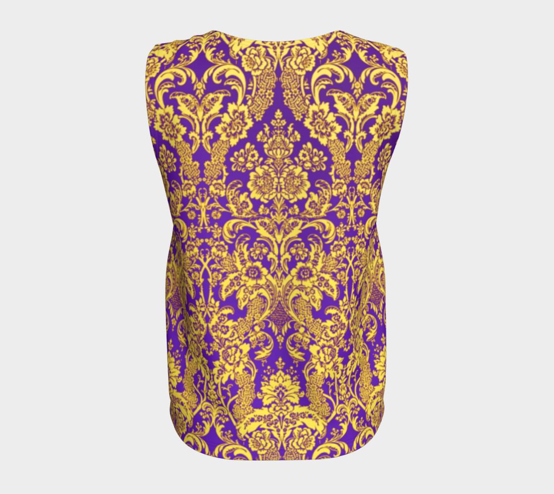 Aperçu de damask in purple and golden #6