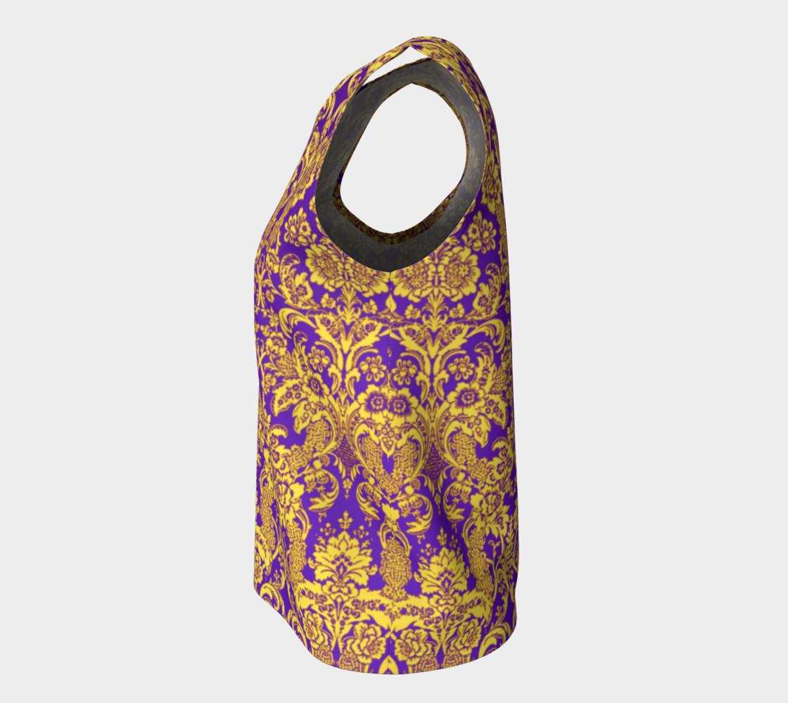 Aperçu de damask in purple and golden #7