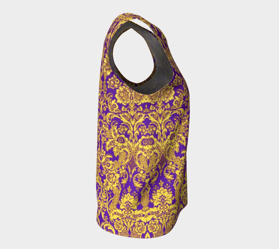 Aperçu de damask in purple and golden #8