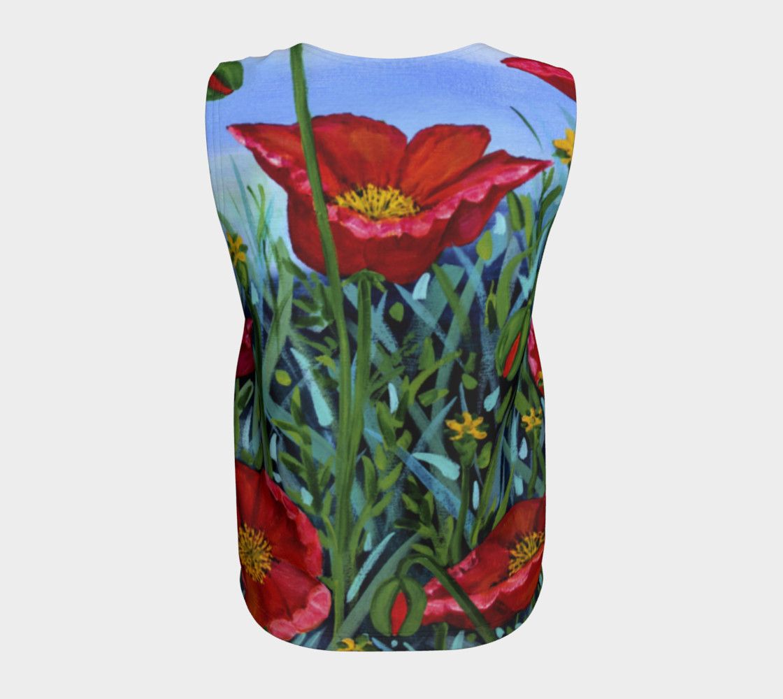 Big Red Floral Poppies Loose Tank preview #6
