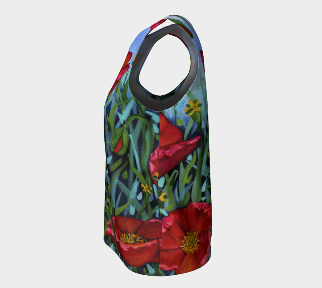 Big Red Floral Poppies Loose Tank preview #7