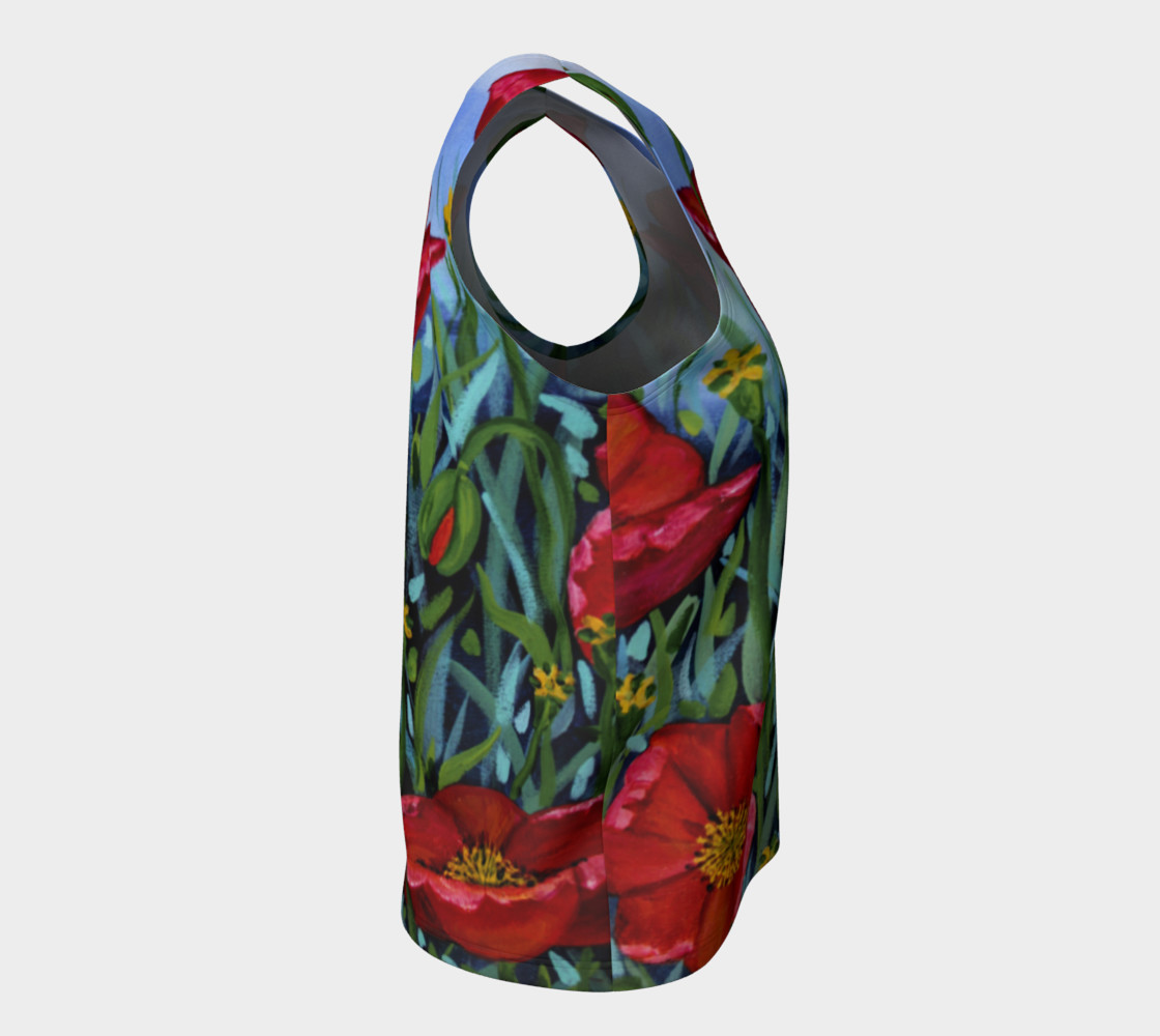 Big Red Floral Poppies Loose Tank preview #8