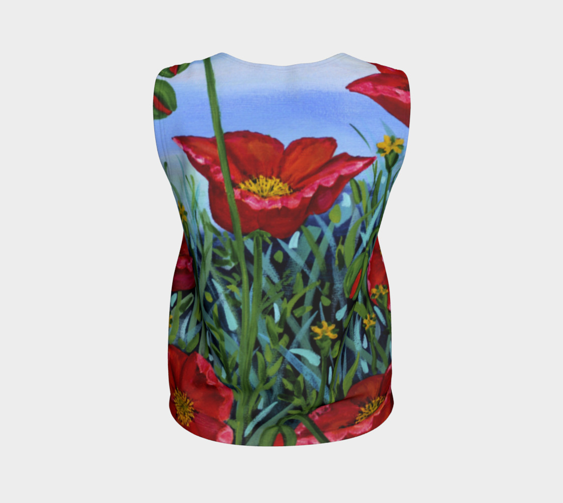 Big Red Floral Poppies Loose Tank preview #2