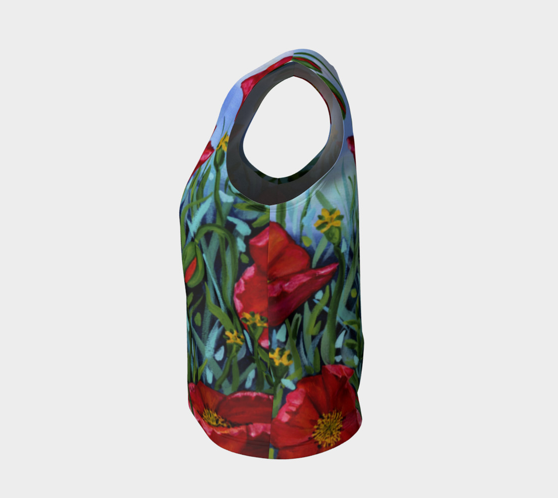 Big Red Floral Poppies Loose Tank preview #3