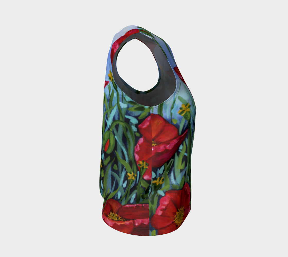 Big Red Floral Poppies Loose Tank preview #4