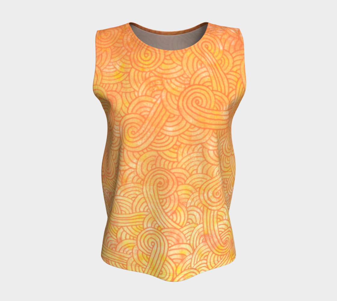 Yellow and orange swirls doodles Loose Tank Top Miniature #6